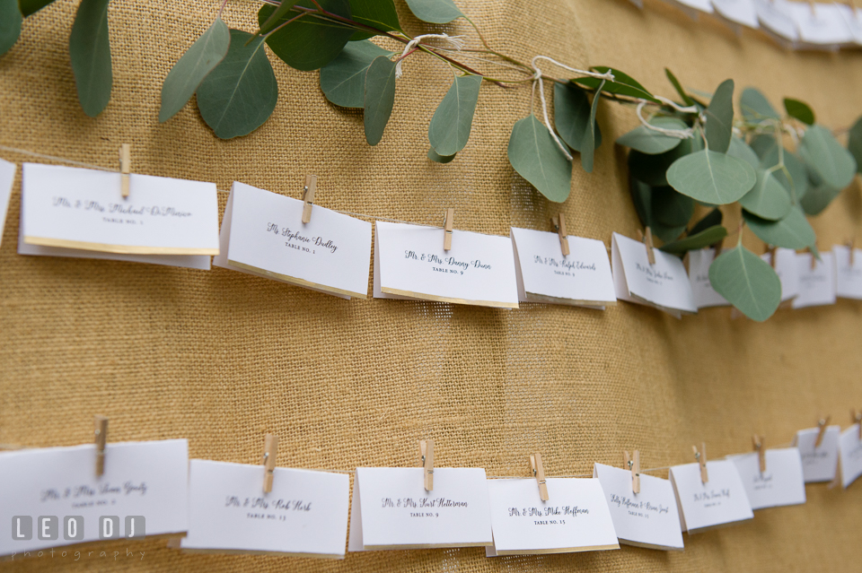 Queenstown Maryland Wedding table assignment escort cards photo by Leo Dj Photography