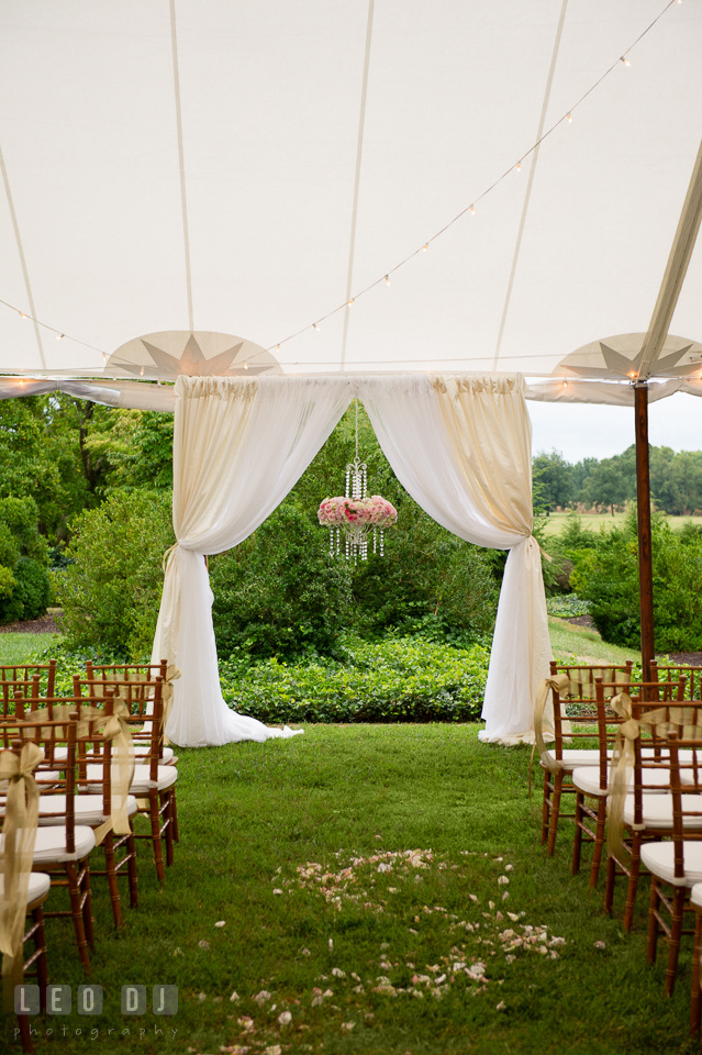 Aspen Wye River Conference Centers ceremony site decor setting by Intrigue Design and Decor photo by Leo Dj Photography