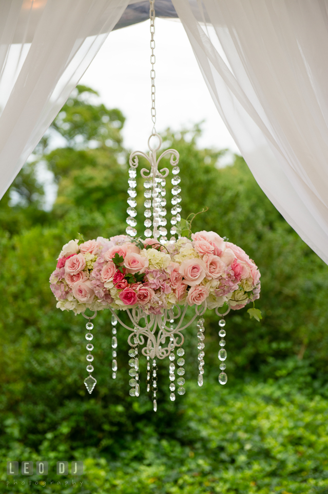 Eastern Shore Maryland pastel roses chandelier by Intrigue Design and Decor photo by Leo Dj Photography