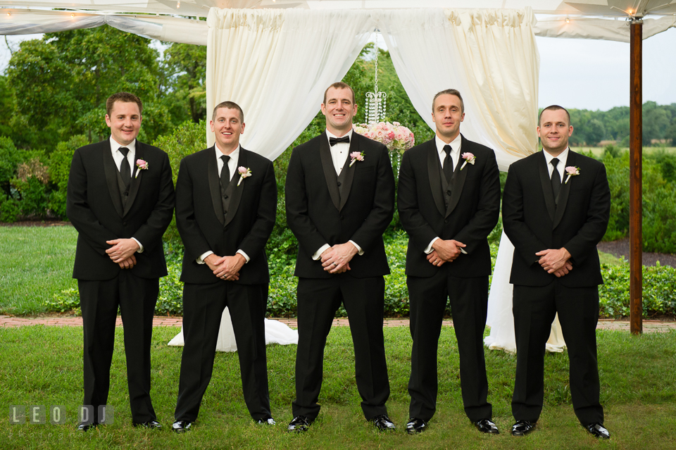 Eastern Shore Maryland Groom posing with Best Man and Groomsmen photo by Leo Dj Photography
