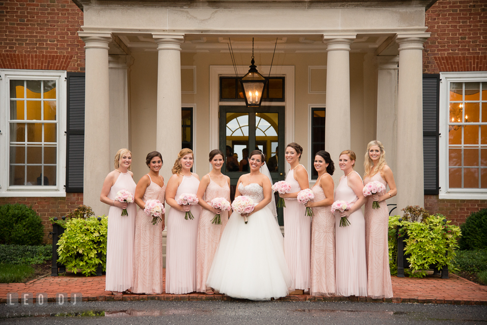 Aspen Wye River Conference Centers Bride posing with maid of honor and bridesmaids photo by Leo Dj Photography