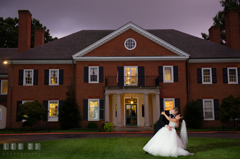 Aspen Wye River Conference Centers Bride Groom dip in front of Houghton House photo by Leo Dj Photography