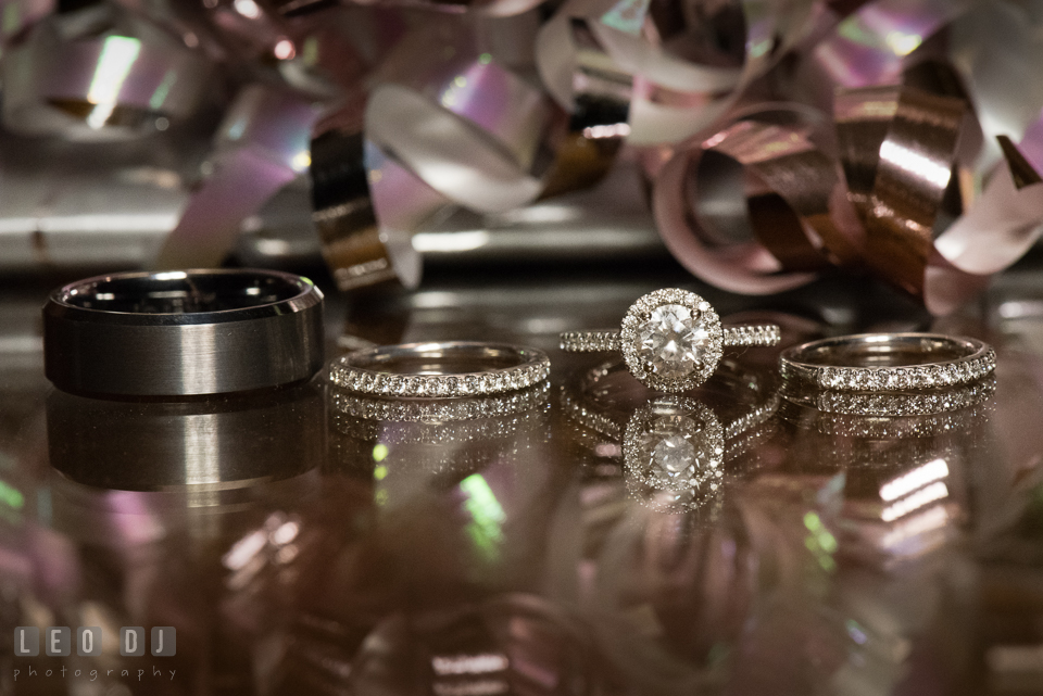 Aspen Wye River Conference Centers engagement and wedding rings and band photo by Leo Dj Photography