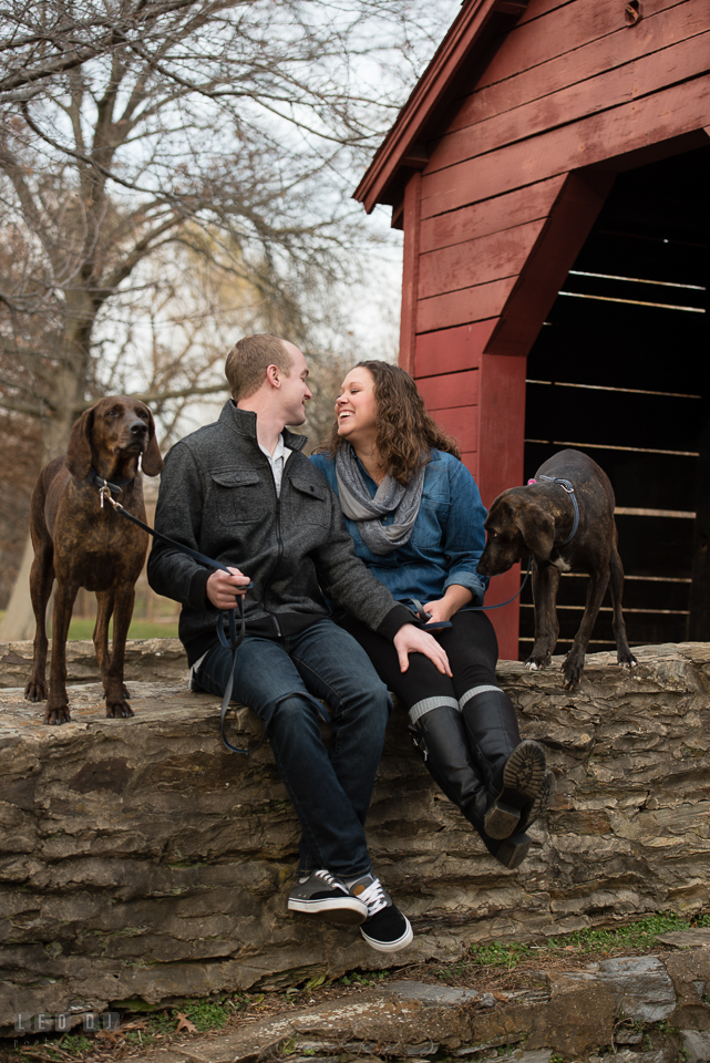 Baker Park Frederick Maryland engaged couple with dogs laughing by red bridge photo by Leo Dj Photography.