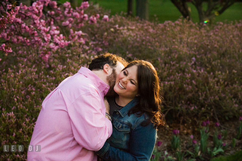 Engaged couple goofing and playing around by an azalea tree . Baltimore MD pre-wedding engagement photo session at Sherwood Gardens, by wedding photographers of Leo Dj Photography. http://leodjphoto.com