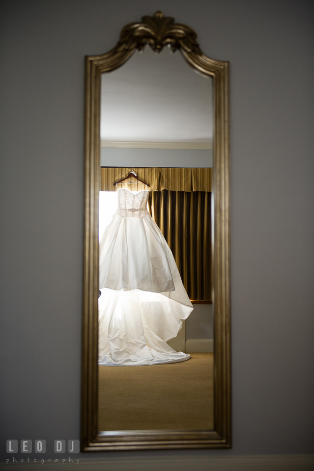 Bride's beautiful wedding gown from Paloma Blanca. The Tidewater Inn wedding, Easton, Eastern Shore, Maryland, by wedding photographers of Leo Dj Photography. http://leodjphoto.com