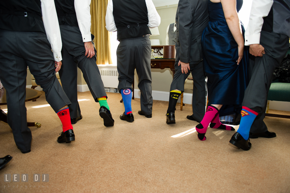 Groom, Best Man, Best Woman and Groomsmen wearing super hero socks. The Tidewater Inn wedding, Easton, Eastern Shore, Maryland, by wedding photographers of Leo Dj Photography. http://leodjphoto.com