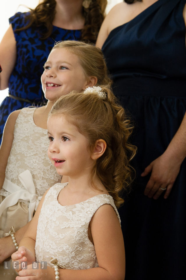 Flower girls in awe seeing the Bride in her wedding dress. The Tidewater Inn wedding, Easton, Eastern Shore, Maryland, by wedding photographers of Leo Dj Photography. http://leodjphoto.com