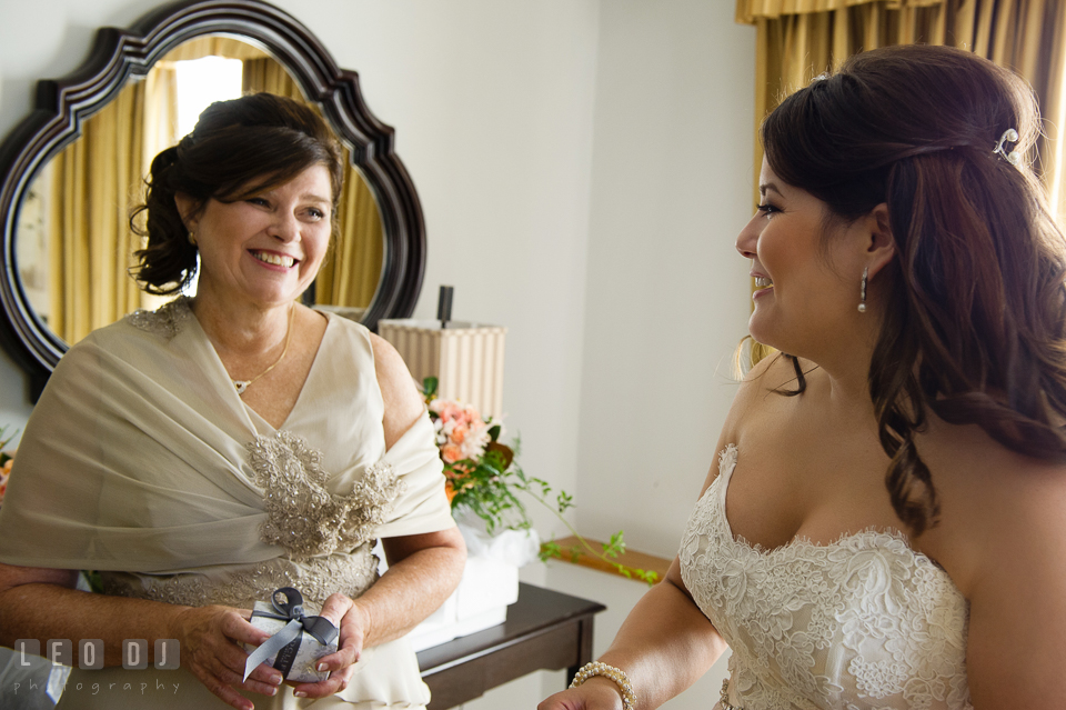 Bride and her Mother laughing together during the getting ready. The Tidewater Inn wedding, Easton, Eastern Shore, Maryland, by wedding photographers of Leo Dj Photography. http://leodjphoto.com