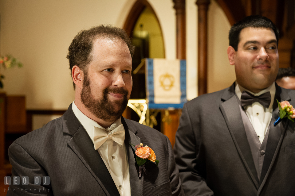 Groom's expression was full of emotion upon seeing his Bride walked down the aisle. The Trinity Cathedral wedding, Easton, Eastern Shore, Maryland, by wedding photographers of Leo Dj Photography. http://leodjphoto.com