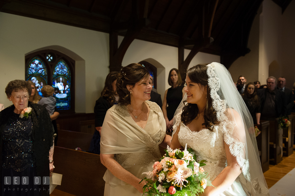 Mother of the Bride meeting her daughter by the altar. The Trinity Cathedral wedding, Easton, Eastern Shore, Maryland, by wedding photographers of Leo Dj Photography. http://leodjphoto.com