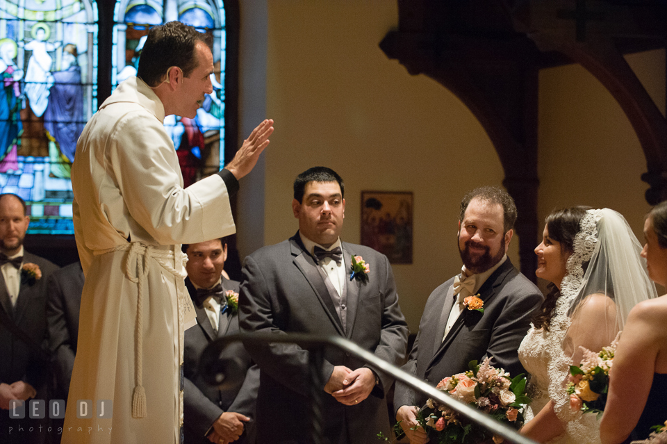 The pastor, The Very Reverend Gregory Powell, giving his advice for the couple. The Trinity Cathedral wedding, Easton, Eastern Shore, Maryland, by wedding photographers of Leo Dj Photography. http://leodjphoto.com