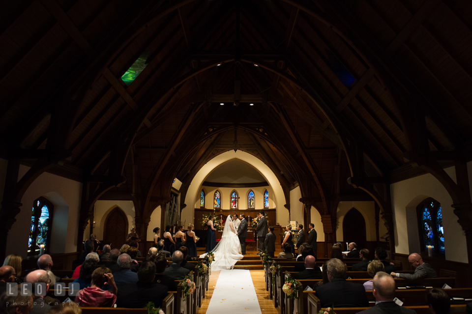Overall view of the church with the Bride, Groom, the wedding party and the guests. The Trinity Cathedral wedding, Easton, Eastern Shore, Maryland, by wedding photographers of Leo Dj Photography. http://leodjphoto.com