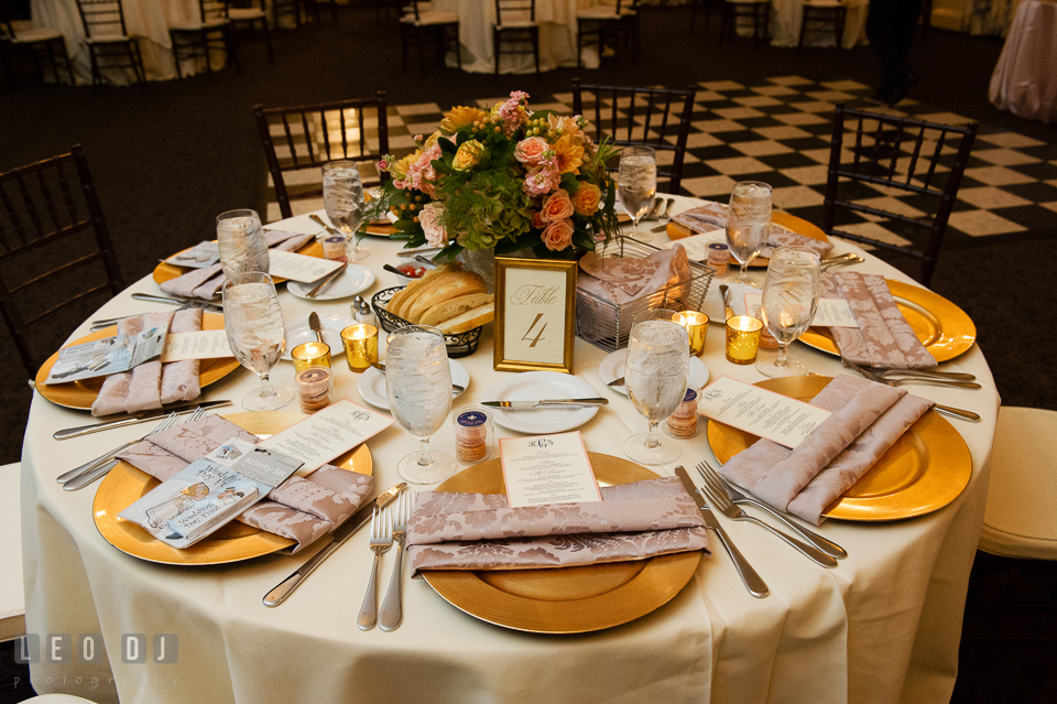Table setting detail shot. The Tidewater Inn wedding, Easton, Eastern Shore, Maryland, by wedding photographers of Leo Dj Photography. http://leodjphoto.com