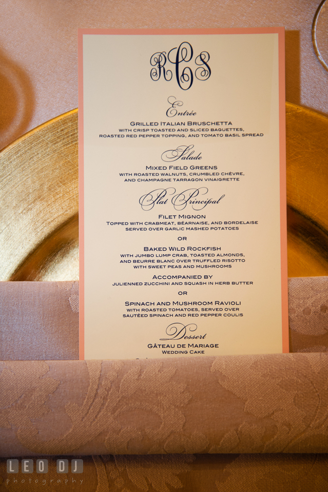 French infused dinner menu card. The Tidewater Inn wedding, Easton, Eastern Shore, Maryland, by wedding photographers of Leo Dj Photography. http://leodjphoto.com