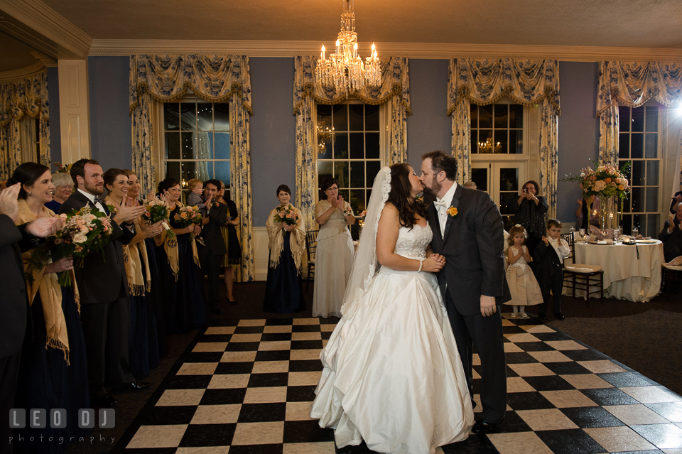 Bride and Groom kissing during the first dance, beautifully choreographed. The Tidewater Inn wedding, Easton, Eastern Shore, Maryland, by wedding photographers of Leo Dj Photography. http://leodjphoto.com