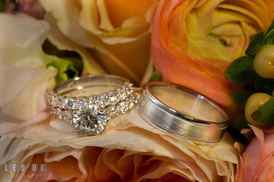 Bride and Groom's wedding bands and engagement ring. The Tidewater Inn wedding, Easton, Eastern Shore, Maryland, by wedding photographers of Leo Dj Photography. http://leodjphoto.com