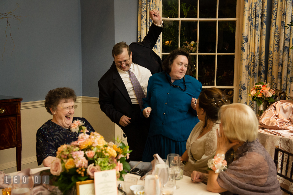 Guests silly dancing if front of Grandmother and Mother of the Bride. The Tidewater Inn wedding, Easton, Eastern Shore, Maryland, by wedding photographers of Leo Dj Photography. http://leodjphoto.com