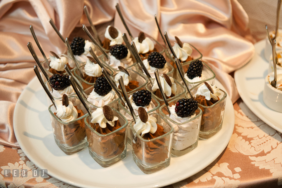 Chocolate mousse dessert. The Tidewater Inn wedding, Easton, Eastern Shore, Maryland, by wedding photographers of Leo Dj Photography. http://leodjphoto.com