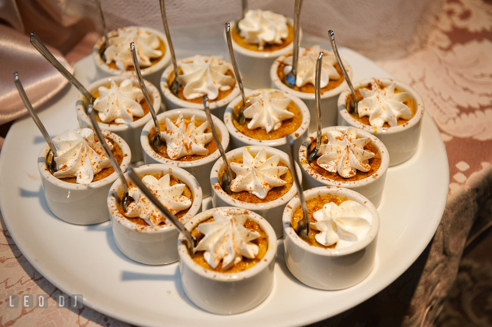 Creme brulee desserts. The Tidewater Inn wedding, Easton, Eastern Shore, Maryland, by wedding photographers of Leo Dj Photography. http://leodjphoto.com