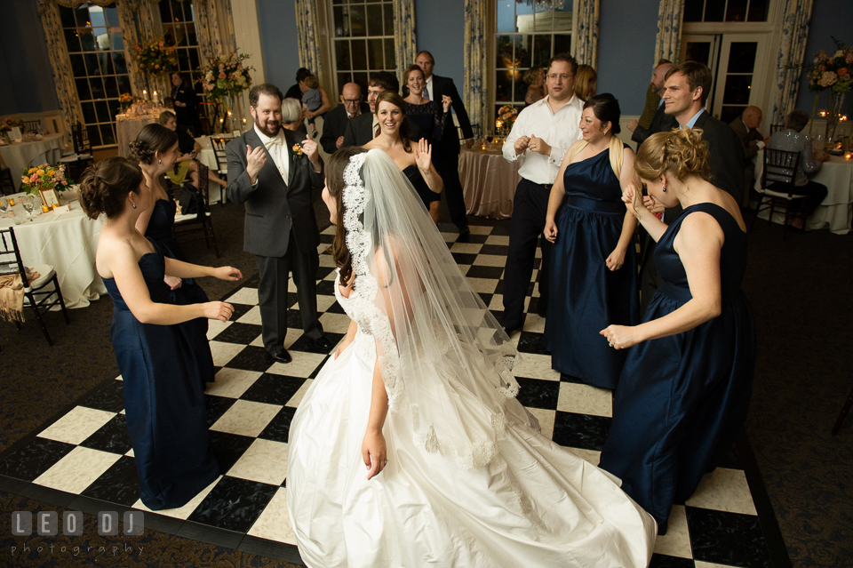 Bride, Groom, Bridesmaids, Maid of Honor and guests having fun dancing. The Tidewater Inn wedding, Easton, Eastern Shore, Maryland, by wedding photographers of Leo Dj Photography. http://leodjphoto.com