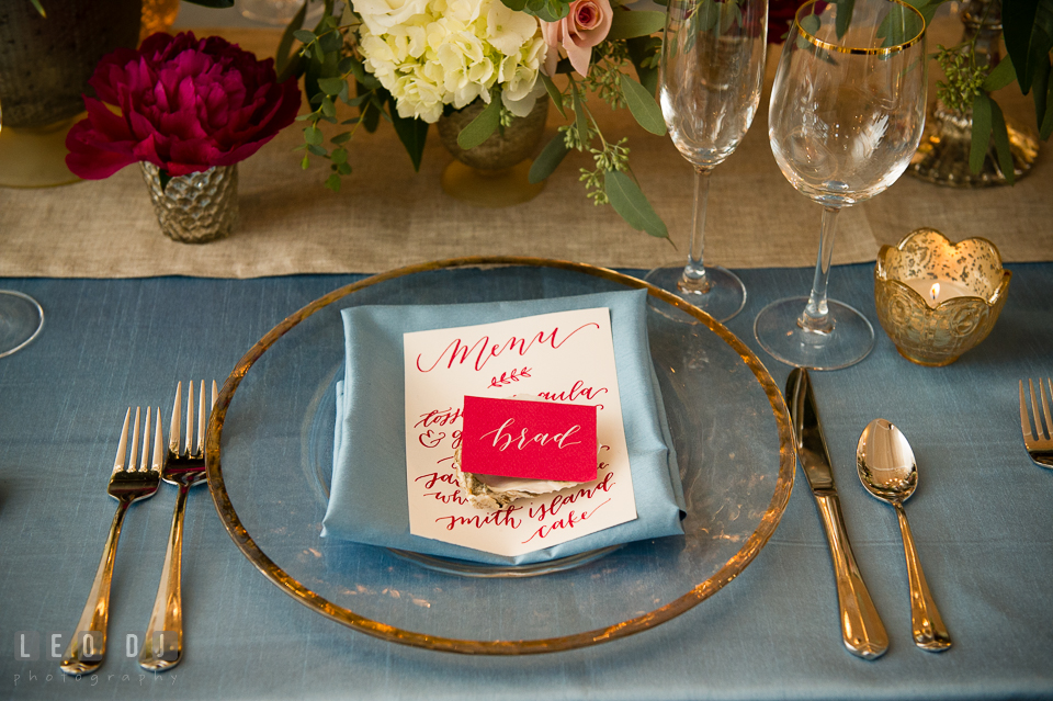Table setting design by Lauren Niles Events and calligraphy by Poppy & Scooter. Kent Island Maryland Chesapeake Bay Beach Club Bow Ties and Bubbly wedding show photos at the Breezeway, by wedding photographers of Leo Dj Photography. http://leodjphoto.com