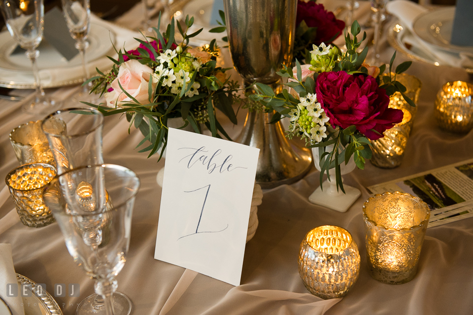 Table number calligraphy by Poppy & Scooter, design by Lauren Niles Events and flowers from florist Little House of Flowers. Kent Island Maryland Chesapeake Bay Beach Club Bow Ties and Bubbly wedding show photos at the Breezeway, by wedding photographers of Leo Dj Photography. http://leodjphoto.com