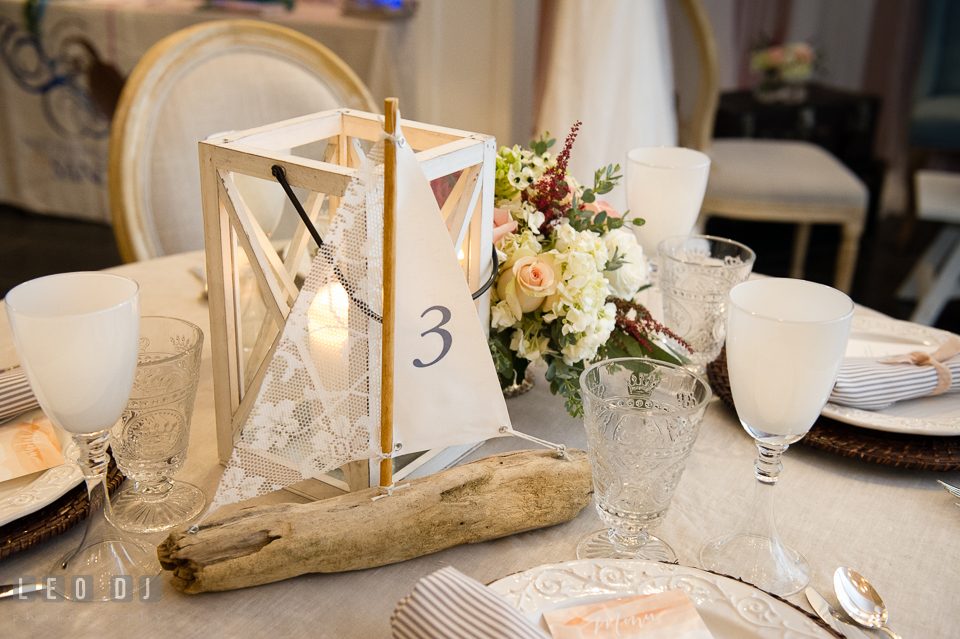 Nautical themed dining table design by Lauren Niles Events, florist Little House of Flowers, and 2hands Studios. Kent Island Maryland Chesapeake Bay Beach Club Bow Ties and Bubbly wedding show photos at the Breezeway, by wedding photographers of Leo Dj Photography. http://leodjphoto.com