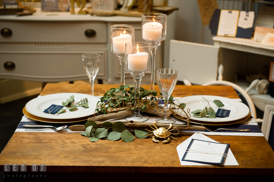 Table settings design by 2hands Studios. Kent Island Maryland Chesapeake Bay Beach Club Bow Ties and Bubbly wedding show photos at the Breezeway, by wedding photographers of Leo Dj Photography. http://leodjphoto.com