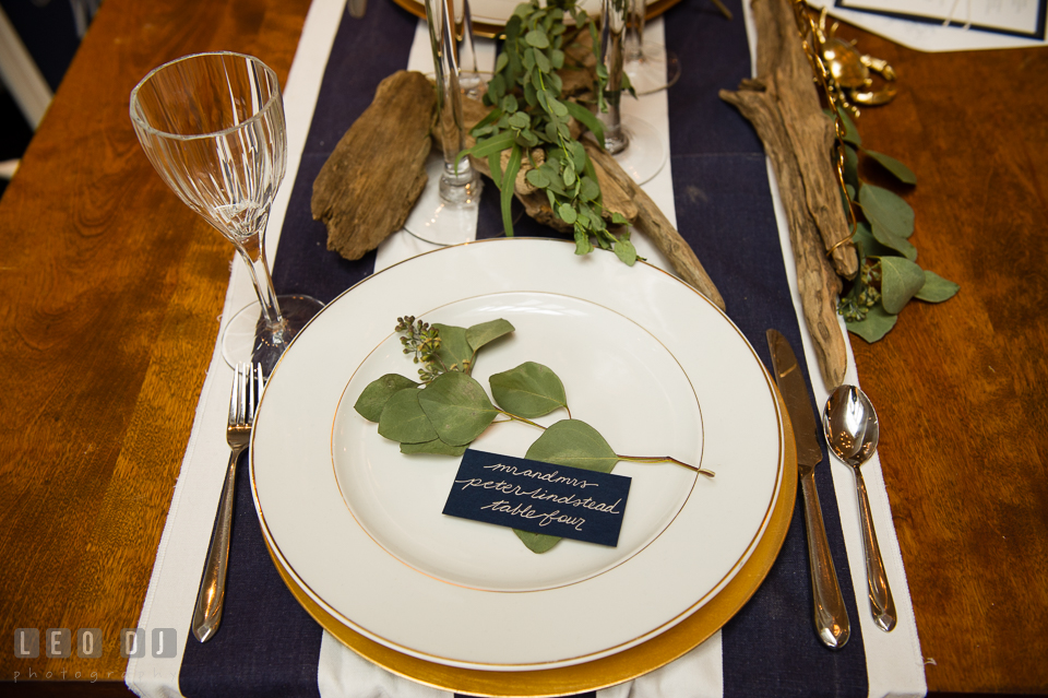 Plate and silverware setting design by 2hands Studios. Kent Island Maryland Chesapeake Bay Beach Club Bow Ties and Bubbly wedding show photos at the Breezeway, by wedding photographers of Leo Dj Photography. http://leodjphoto.com