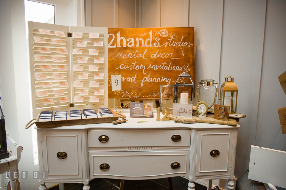 Decor props and sign design by 2hands Studios. Kent Island Maryland Chesapeake Bay Beach Club Bow Ties and Bubbly wedding show photos at the Breezeway, by wedding photographers of Leo Dj Photography. http://leodjphoto.com