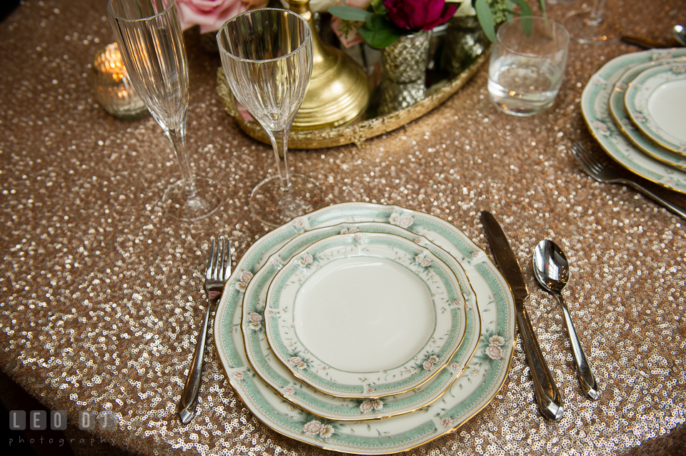 China and silverware rentals from 2hands Studios. Kent Island Maryland Chesapeake Bay Beach Club Bow Ties and Bubbly wedding show photos at the Breezeway, by wedding photographers of Leo Dj Photography. http://leodjphoto.com