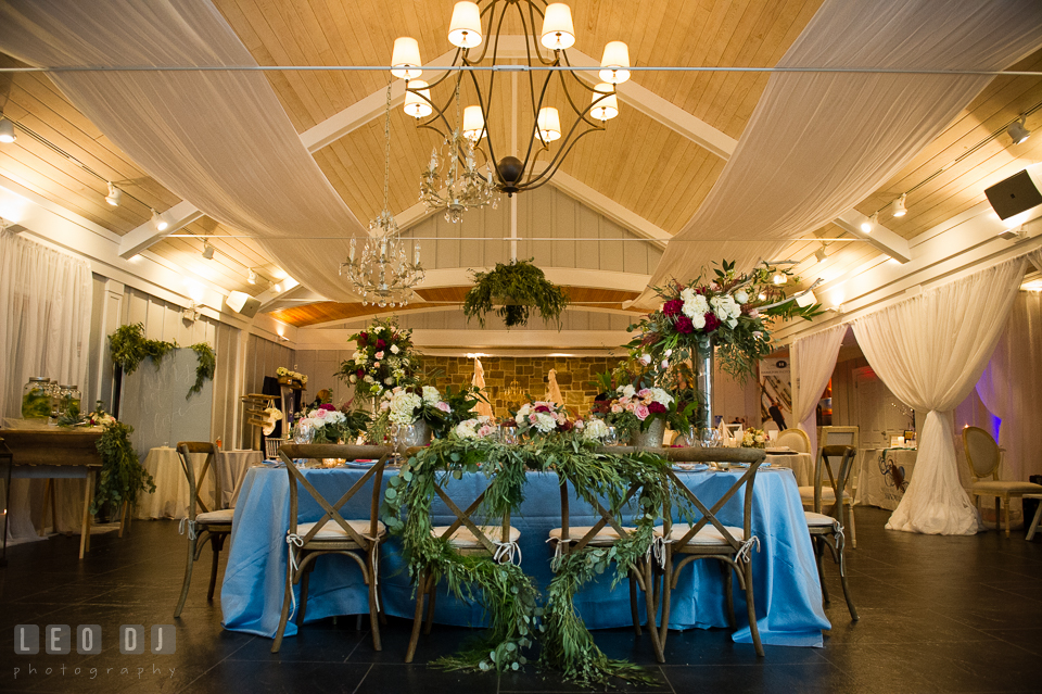 Wide view of room design by Lauren Niles Events. Kent Island Maryland Chesapeake Bay Beach Club Bow Ties and Bubbly wedding show photos at the Breezeway, by wedding photographers of Leo Dj Photography. http://leodjphoto.com