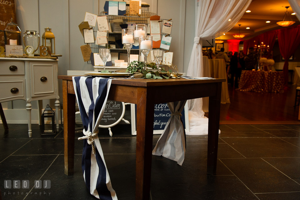 Nautical table runner and knot design by 2hands Studios. Kent Island Maryland Chesapeake Bay Beach Club Bow Ties and Bubbly wedding show photos at the Breezeway, by wedding photographers of Leo Dj Photography. http://leodjphoto.com