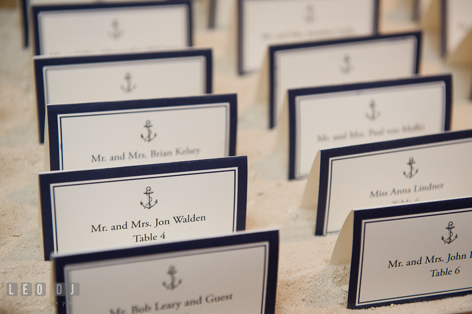 Custom nautical themed place cards design by 2hands Studios. Kent Island Maryland Chesapeake Bay Beach Club Bow Ties and Bubbly wedding show photos at the Breezeway, by wedding photographers of Leo Dj Photography. http://leodjphoto.com