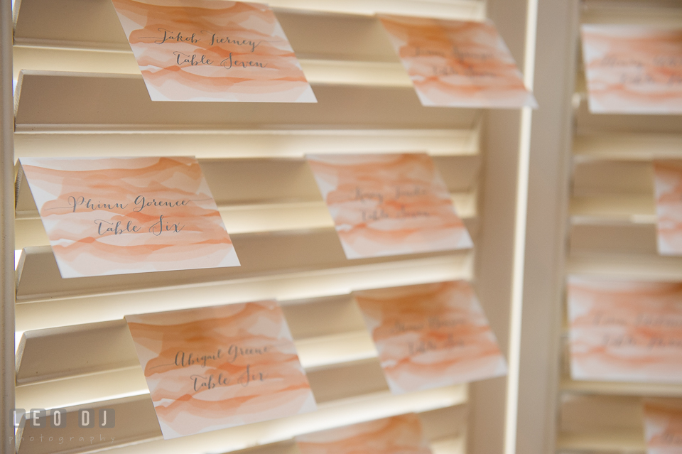 Table assignment cards with custom calligraphy design by 2hands Studios. Kent Island Maryland Chesapeake Bay Beach Club Bow Ties and Bubbly wedding show photos at the Breezeway, by wedding photographers of Leo Dj Photography. http://leodjphoto.com