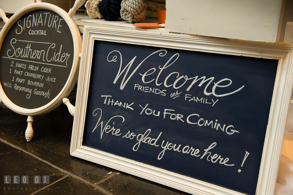 Custom welcome sign board and menu board design by 2hands Studios. Kent Island Maryland Chesapeake Bay Beach Club Bow Ties and Bubbly wedding show photos at the Breezeway, by wedding photographers of Leo Dj Photography. http://leodjphoto.com