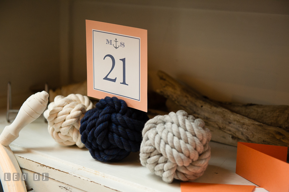 Nautical themed table number and props. Kent Island Maryland Chesapeake Bay Beach Club Bow Ties and Bubbly wedding show photos at the Breezeway, by wedding photographers of Leo Dj Photography. http://leodjphoto.com