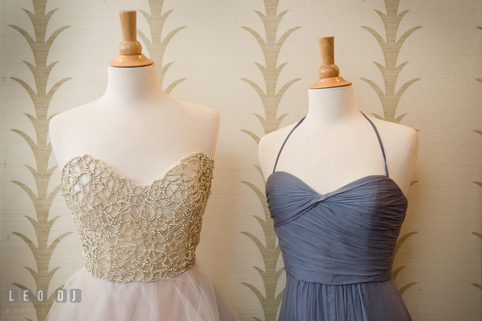 Bride's dress and bridesmaids gown from Garnish Boutique. Kent Island Maryland Chesapeake Bay Beach Club Bow Ties and Bubbly wedding show photos at the Breezeway, by wedding photographers of Leo Dj Photography. http://leodjphoto.com