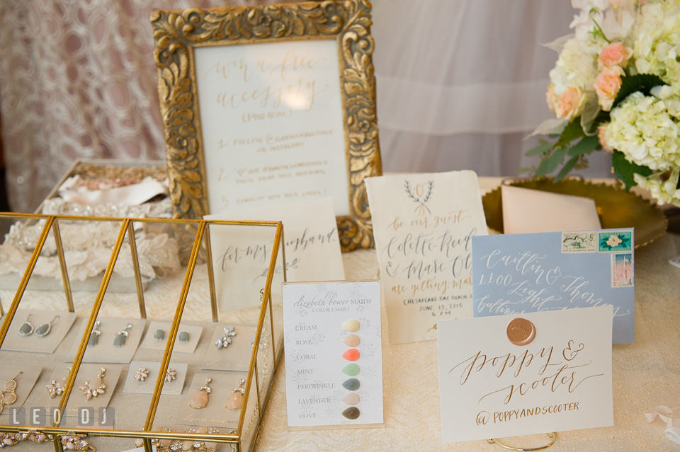Custom accessories and envelope with calligraphy by Poppy & Scooter. Kent Island Maryland Chesapeake Bay Beach Club Bow Ties and Bubbly wedding show photos at the Breezeway, by wedding photographers of Leo Dj Photography. http://leodjphoto.com