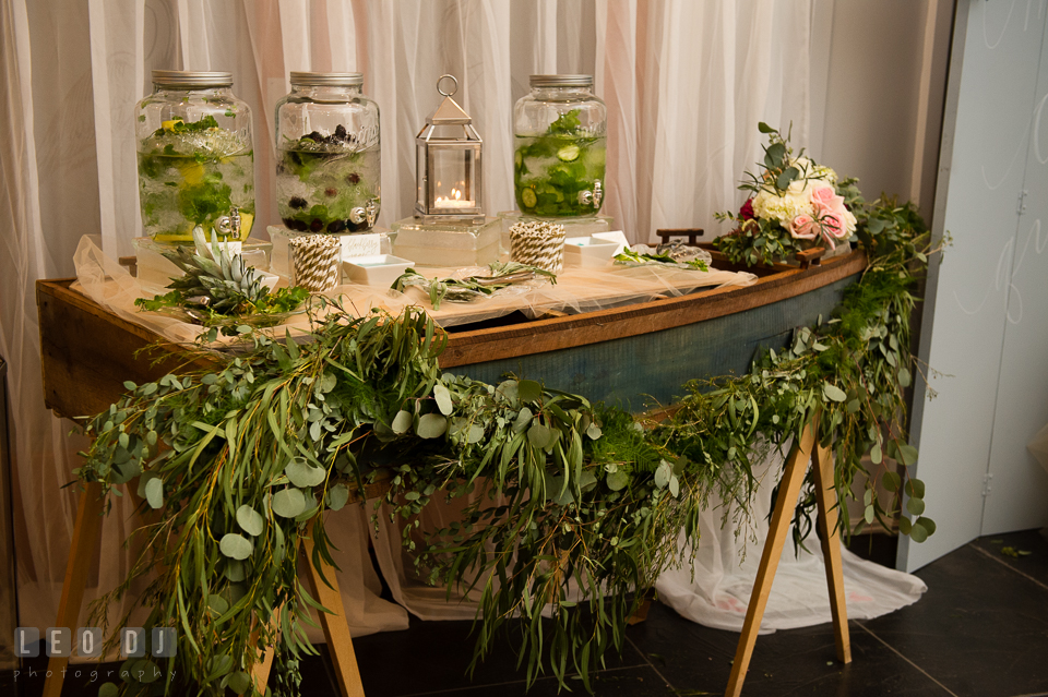 Small boat table for drinks designed by Lauren Niles Events. Kent Island Maryland Chesapeake Bay Beach Club Bow Ties and Bubbly wedding show photos at the Breezeway, by wedding photographers of Leo Dj Photography. http://leodjphoto.com