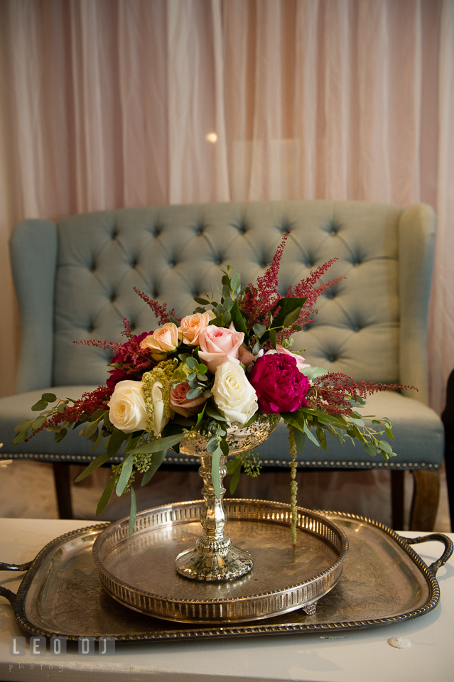 Lounge room detail design by Lauren Niles Events, flower from florist Little House of Flowers, and decor props from 2hands Studios. Kent Island Maryland Chesapeake Bay Beach Club Bow Ties and Bubbly wedding show photos at the Breezeway, by wedding photographers of Leo Dj Photography. http://leodjphoto.com