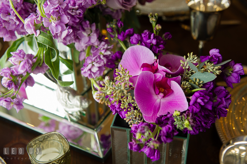 Purple and violet flowers from florist Wicked Willow. Kent Island Maryland Chesapeake Bay Beach Club Bow Ties and Bubbly wedding show photos at the Tavern Bayside, by wedding photographers of Leo Dj Photography. http://leodjphoto.com