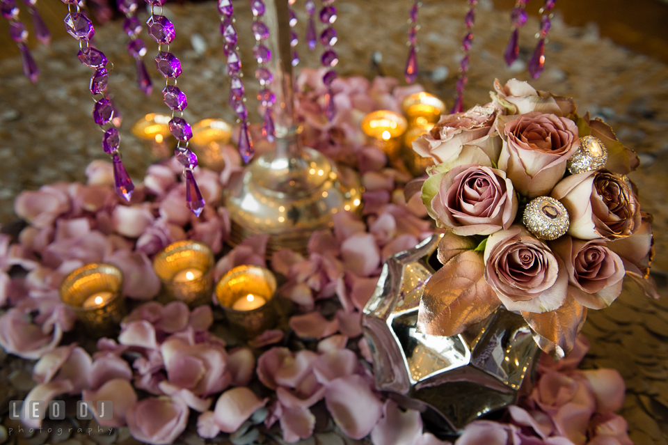 Salem and purple roses from florist Wicked Willow. Kent Island Maryland Chesapeake Bay Beach Club Bow Ties and Bubbly wedding show photos at the Tavern Bayside, by wedding photographers of Leo Dj Photography. http://leodjphoto.com