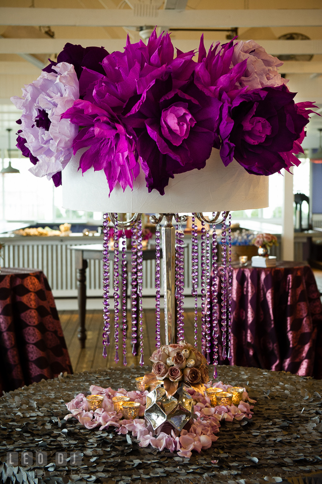 Huge purple and violet paper flowers from florist Wicked Willow. Kent Island Maryland Chesapeake Bay Beach Club Bow Ties and Bubbly wedding show photos at the Tavern Bayside, by wedding photographers of Leo Dj Photography. http://leodjphoto.com