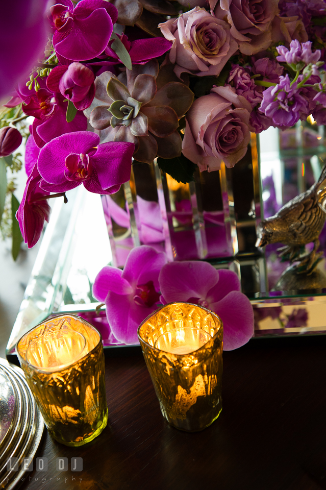 Succulents, pink roses and purple orchid from florist Wicked Willow. Kent Island Maryland Chesapeake Bay Beach Club Bow Ties and Bubbly wedding show photos at the Tavern Bayside, by wedding photographers of Leo Dj Photography. http://leodjphoto.com