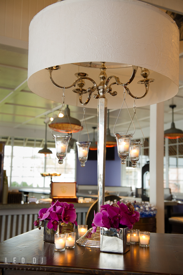Old table lamp shade with hanging candles from Vintage Affairs. Kent Island Maryland Chesapeake Bay Beach Club Bow Ties and Bubbly wedding show photos at the Tavern Bayside, by wedding photographers of Leo Dj Photography. http://leodjphoto.com
