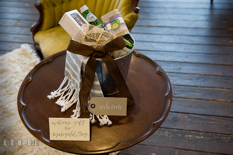 Welcome gift set from Marigold and Grey. Kent Island Maryland Chesapeake Bay Beach Club Bow Ties and Bubbly wedding show photos at the Tavern Bayside, by wedding photographers of Leo Dj Photography. http://leodjphoto.com