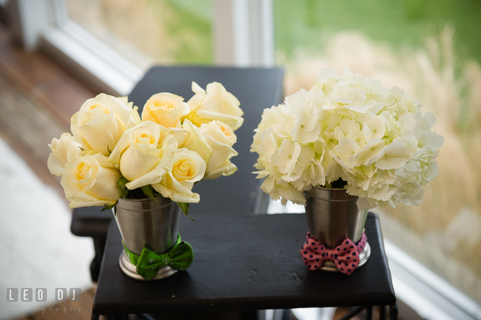 White roses and hydrangea from Mint Julep, Historic Events Wedding and Event Planning. Kent Island Maryland Chesapeake Bay Beach Club Bow Ties and Bubbly wedding show photos at the Tavern Bayside, by wedding photographers of Leo Dj Photography. http://leodjphoto.com