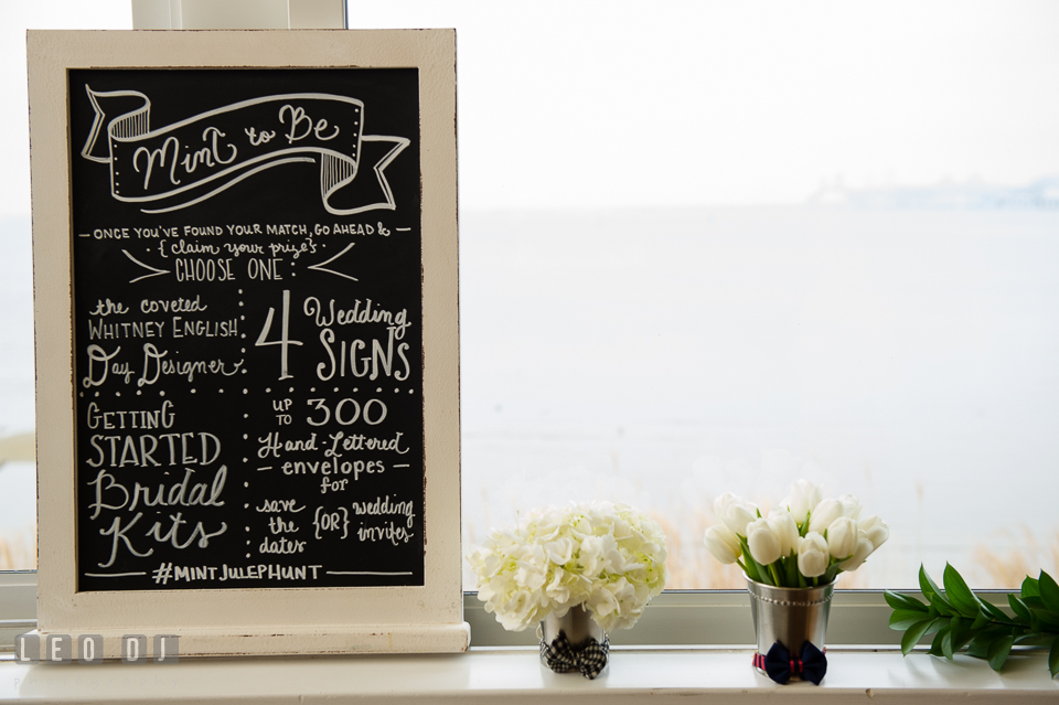 Chalkboard sign from Mint Julep, Historic Events Wedding and Event Planning. Kent Island Maryland Chesapeake Bay Beach Club Bow Ties and Bubbly wedding show photos at the Tavern Bayside, by wedding photographers of Leo Dj Photography. http://leodjphoto.com